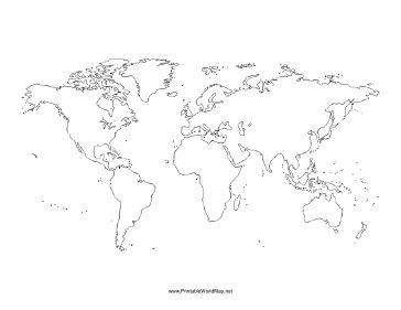 This printable world map with all continents is left blank. Ideal for geography lessons, mapping routes traveled, or just for display. Free to download and print