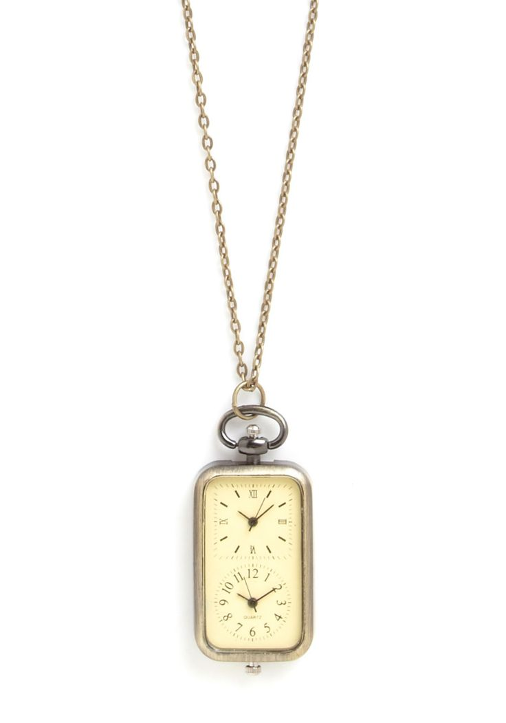 Multiple dial watch as necklace.  Keep track of loved one's time zones!   In the Zone Necklace | Mod Retro Vintage Necklaces | ModCloth.com