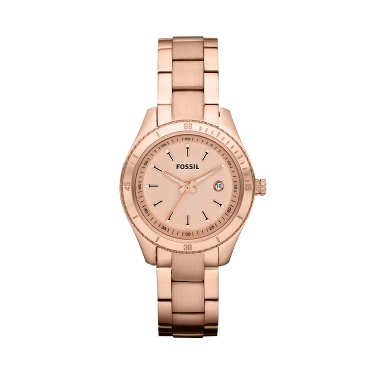 FOSSIL® Features A Touch Of Rose:Women Stella Mini Stainless Steel Watch - Rose ES3019