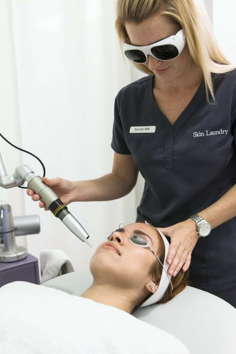 Skin Laundry clinics' signature 10-minute noninvasive laser treatment ($75) delivers deep pore cleaning and a softer, tighter, brighter complexion. See all our skincare quick fixes here:
