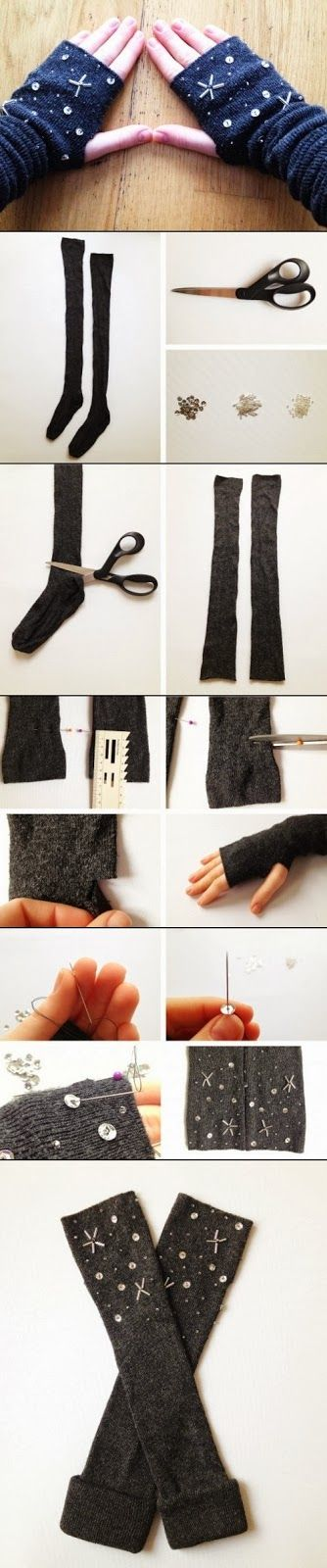 DIY mittens for winter season.For these mittens you'll need socks of your choice, scissors, needle and thread, beads and sequins of your t...