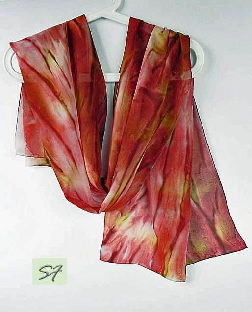 Brown Red Yellow Silk Scarf, Hand Dyed, Chiffon Silk, Abstract, Light Neck Scarf, Casual, Women Fashion Scarf, Wife Girlfriend Mom Gifts by SilkFantazi on Etsy