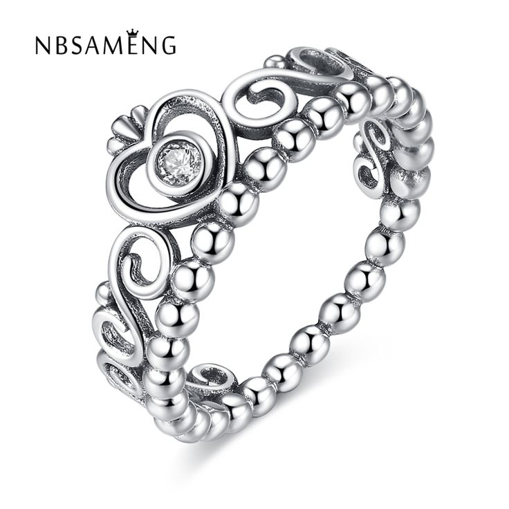 Silver Plated My Princess Queen Crown Stackable Rings with Clear CZ Authentic Wedding Ring Vintage For Women Gift Jewelry