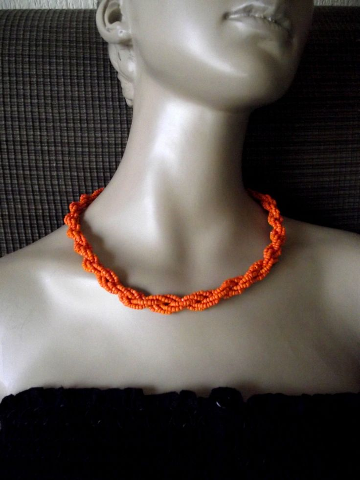 Beaded orange necklace Jewelry for women Orange by MadMaxArtistic, €10.00