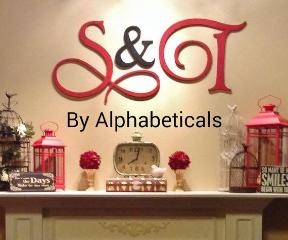 Wall Letters Initial Monogram Wall Decor Wooden Monogram Decorative Letters  Large Script Wooden Letters Hanging (