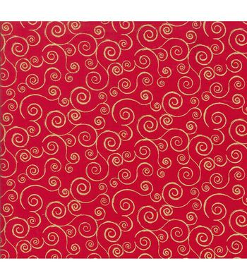 Holiday Inspirations Fabric-Metallic Scrolls Red
