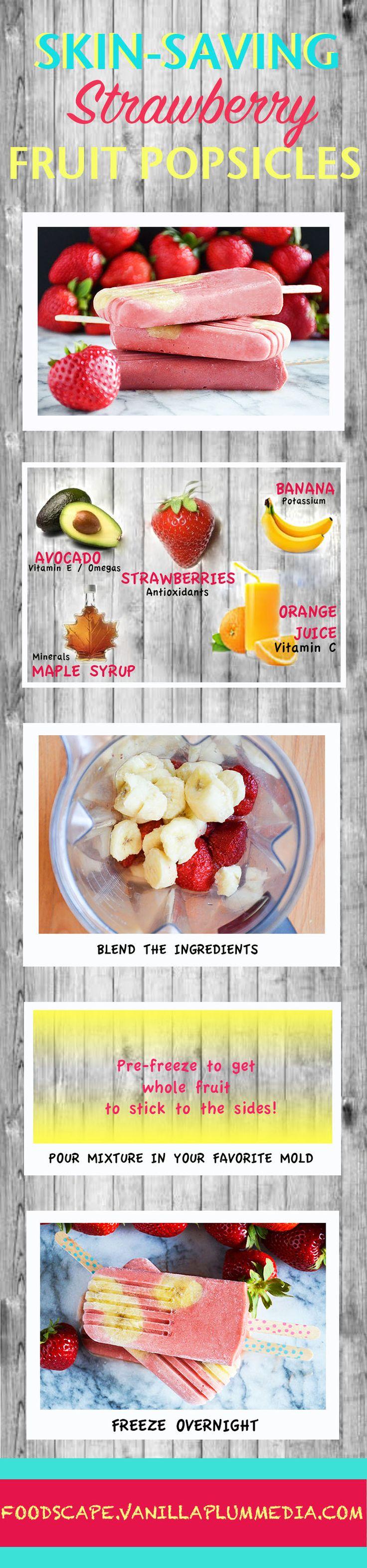 Easy frozen fruit bar for healthy skin. Bonus: The kids will love it! Healthy breakfast or snack.  - Skin-Saving Strawberry Fruit Popsicle | http://foodscape.vanillaplummedia.com/