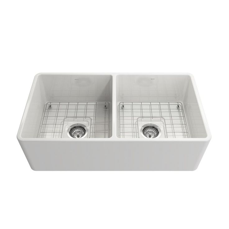 Classico Apron Front Fireclay 33 in. Double Bowl Kitchen Sink with Protective Bottom Grid and Strainer in White, Glossy White