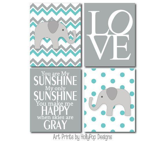 Boy Nursery Art Prints-Chevron Elephant Wall Decor-You are My Sunshine LOVE Typography-Turquoise Gray Nursery Decor-Boys Room Home Decor