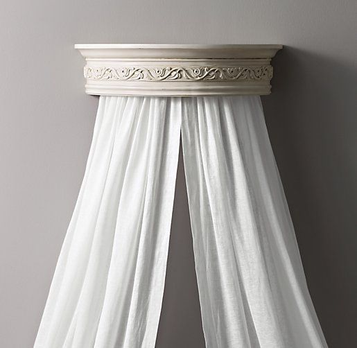 THIS ONE IS MY FAVORITE!  Heirloom White Demilune Carved Wood Canopy Bed Crown