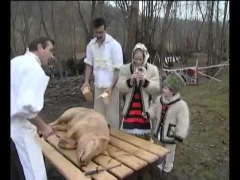 Taiatu' porcului in Vadul Izei, Maramures, Romania