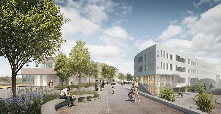 Gata 4, Albano, Stockholm. Byggstart 2016. Färdig 2020. Arkitektskiss: BSK Arkitekter