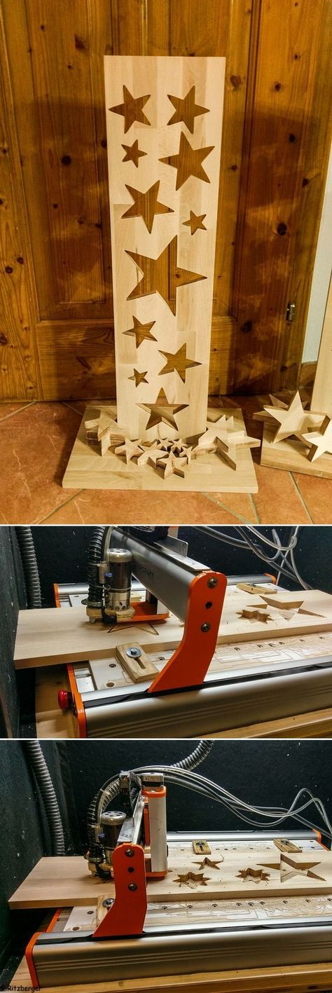 A decorative project on the #STEPCRAFT! Cut out stars in different sizes from a wooden board and drape them in style! Project: Rüdi …