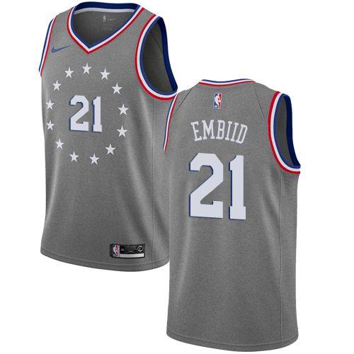c3672f29f12 Nike Philadelphia 76ers  21 Joel Embiid Gray NBA Swingman City Edition  2018 19 Jersey