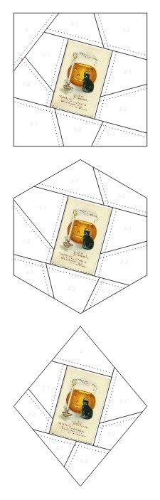 Ye Halloween crazy quilt block patterns posted on Janet Stauffacher's Nostalgic NeedleART blog in 2012.