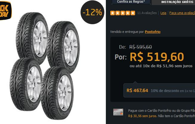 Pneu General Tire Altimax RT 165/70 R13 4 Unidades << R$ 46764 >>