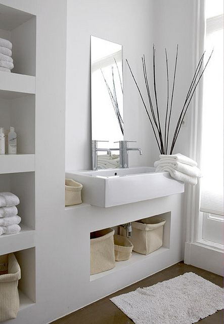 cubbies // white, modern bathroom