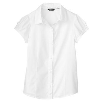 Chaps Ruffled Woven School Uniform Shirt - Girls 7-16