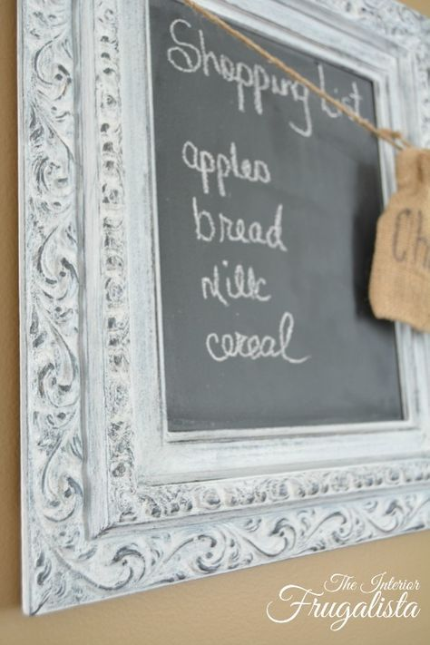 Close up of picture frame painted black and dry brushed with white chalk paint for Chalkboard Shopping List|The Interior Frugalista