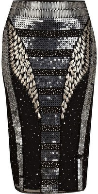 River Island Black Futuristic Sequin Pencil Skirt - LoLoBu