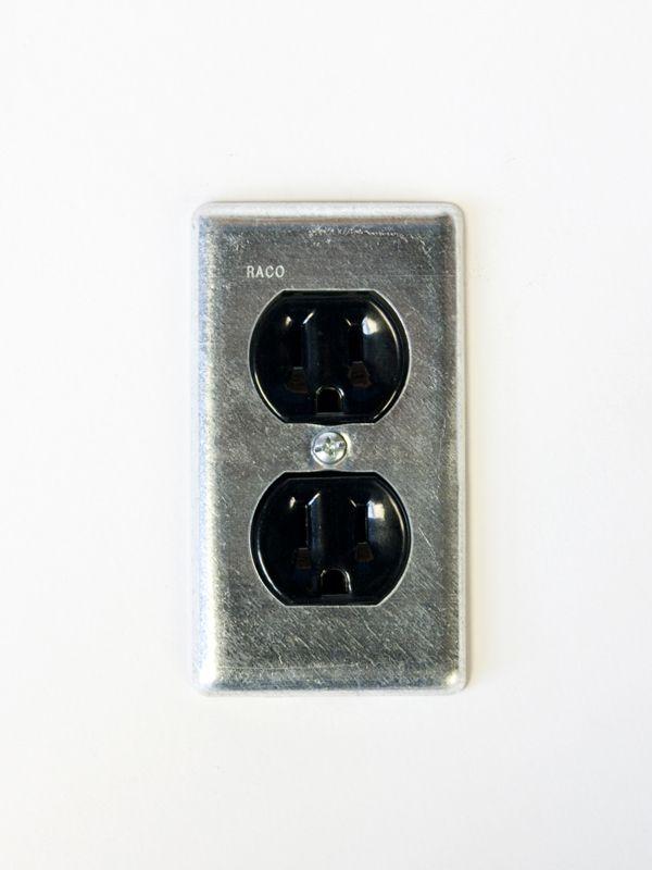 スチール2口コンセントプレート/亜鉛メッキ(※プレートのみ)【10P30May15】