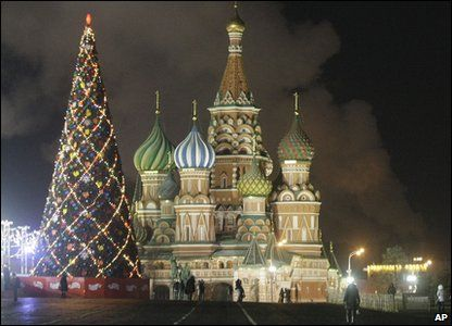 In Russia's capital city of Moscow, a Christmas tree has been decorated beside one of city's most famous buildings, St. Basil's Cathedral.