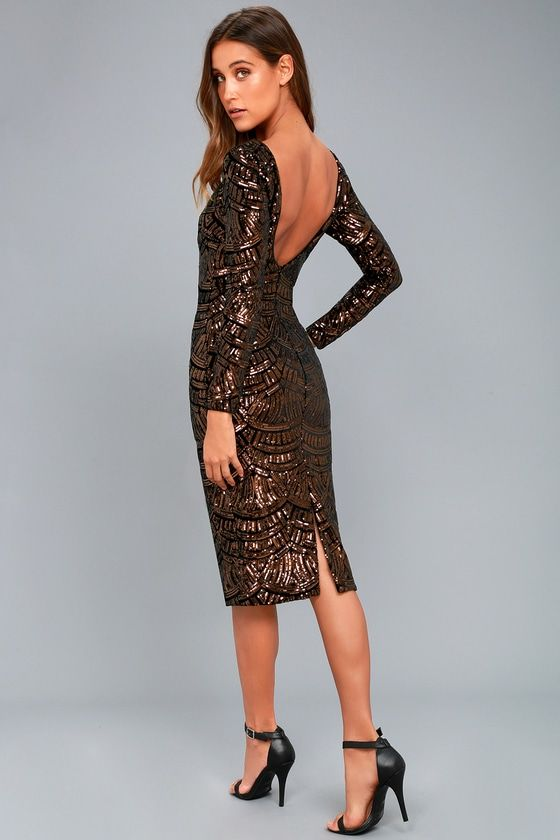 66be1b4d60 We are loving the Dress the Population Emery Bronze Sequin Bodycon Midi  Dress! Black velvet dress
