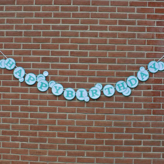 Bubble Birthday Party Happy Birthday Banner by LittleBitsHomemade