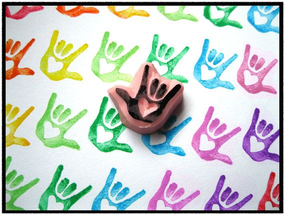 ASL I Love You (ILY) mini stamp! with heart in palm. So cute! Great for teachers of the Deaf.