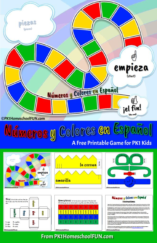 Spanish Numbers and Colors Game For Kids This free printable Spanish game is designed to reinforce the Spanish numbers 1 through 6, introduce some Spanish colors, and expose the idea of adjectives coming after nouns.