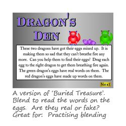 Dragons Den Phase 2 phonics games