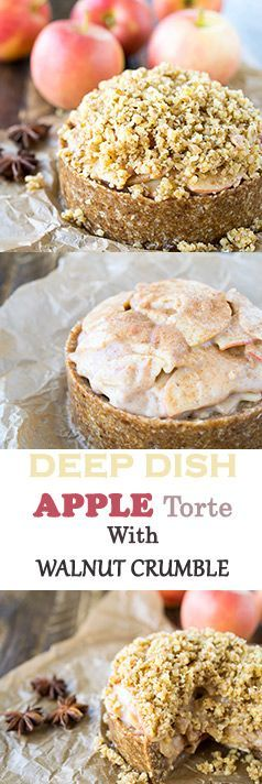Raw, Vegan, and gluten-free Apple Torte with a creamy apple filling and walnut crumble. (scheduled via http://www.tailwindapp.com?utm_source=pinterest&utm_medium=twpin&utm_content=post13276942&utm_campaign=scheduler_attribution)