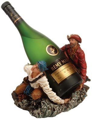 """Two Pirates Wine Bottle Holder by HS. $55.95. The two pirates wine bottle holder measures 7.5""""H.; It holds one bottle of wine.; It make a great gift, impressive decoration and will be admired by all those who love the sea.; It will add a definite nautical touch to wherever it is placed and is a must have for those who appreciate high quality nautical decor.. The two pirates wine bottle holder measures 7.5""""H. It holds one bottle of wine. It will add a definite naut..."""