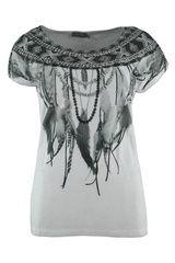 Geisha - shirt met verenprint en studs