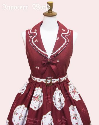 Strawberry Plate Tailored Collar Jumperskirt