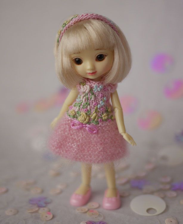 Li'l Party Dress, a hand knit and embroidered dress for Amelia Thimble.