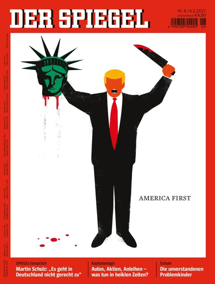 """Schönes Gesicht der Freiheitsstatue ... Donald Trump  """"Amerika first"""""""