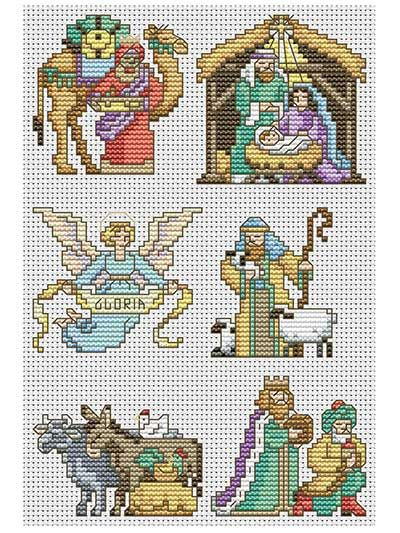 Capture the Christmas spirit in these 6 cross-stitched ornaments!   The story of Jesus' birth is beautifully depicted in these 6 ornaments. You can hang them as a set, with the angel flying above the Holy family, the manger and the 3 Wise Men bearing gifts, to create an idyllic scene. The download comes with full-color images, charts, a DMC floss color guide, general instructions and a stitch guide.  Finished stitch count sizes:  Wise Man with camel: 32W x 33H  Manger: 35W x 35H  Angel: 35W…