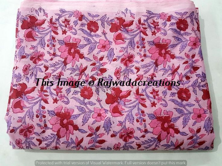 10 Yard 100% Cotton Voile Indian Floral Hand Block Print Dressmaking Fabric