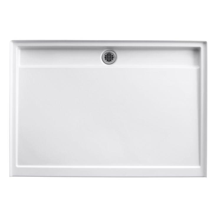 """instead of custom shower pan & tile: Kohler Groove 60"""" x 42"""" Single Threshold Rear Center Drain Shower Base"""