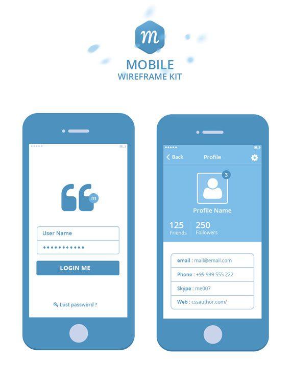 Set de plantillas para desarrollo de aplicaciones móviles en PSD
