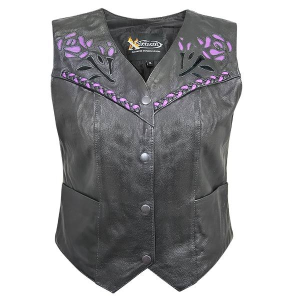 Xelement Women's XS-125077 Leather Biker Vest with Rose Inlay and Braid - LeatherUp.com