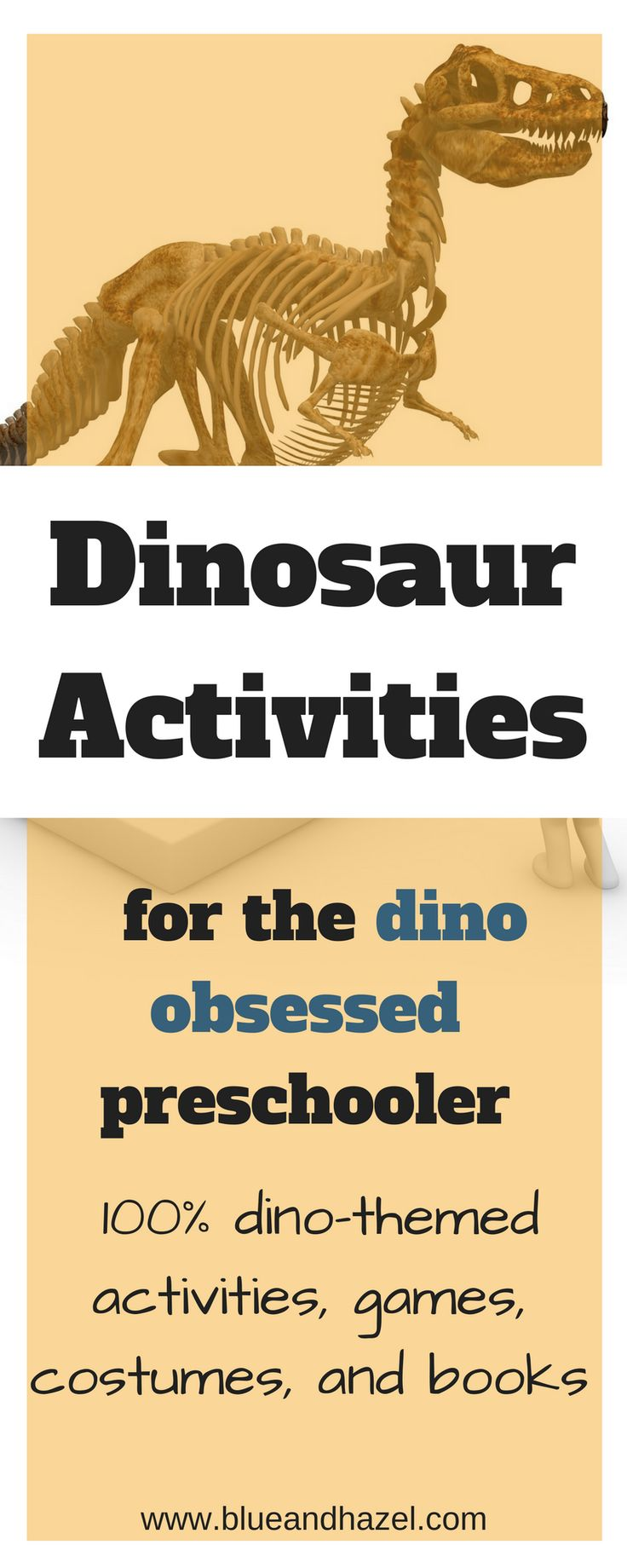Here are dinosaur activities preschoolers will play with for hours! Including dinosaur games, dinosaur costumes, dinosaur books, and dinosaur activities for preschoolers! An ultimate list of dinosaur activities kids will love. #dinosaur #blueandhazel #dinosauractivities #toddler #kidactivities