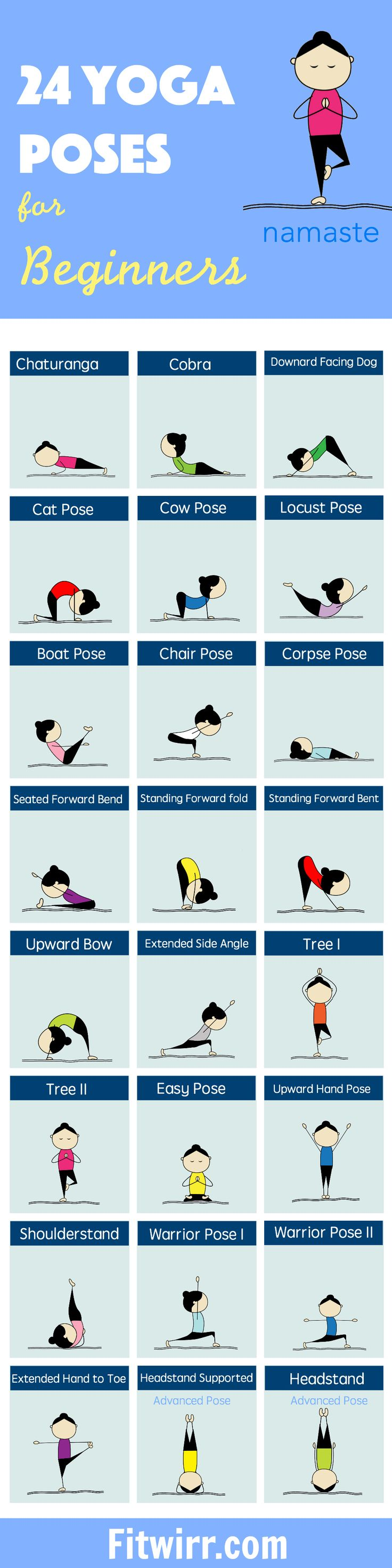 24 Yoga Poses fitness exercise yoga diy exercise healthy living home exercise yoga poses