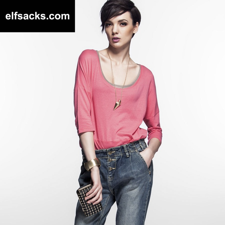 Womens Two Piece Round Collar Three quarter Sleeve Candy color Pink Tshirt solid color