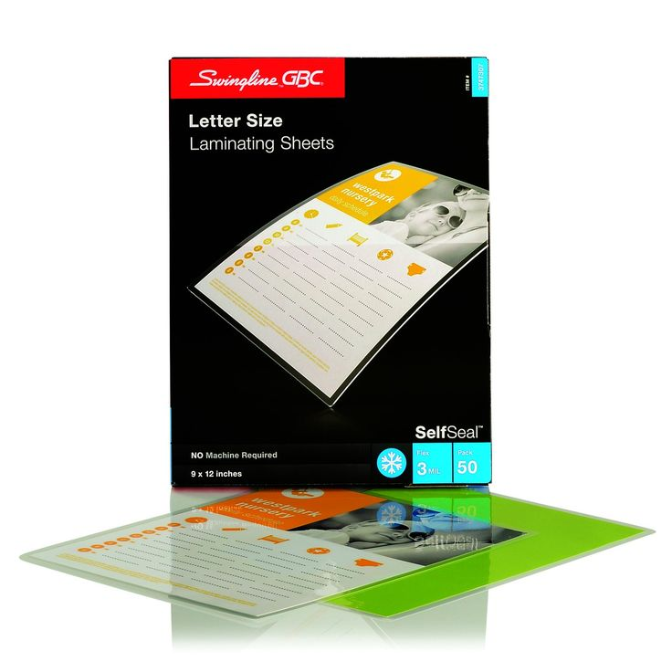 Swingline GBC SelfSeal Self Adhesive Laminating Sheet, Letter Size, Glossy, 3 Mil, 50 Pack (3747307)