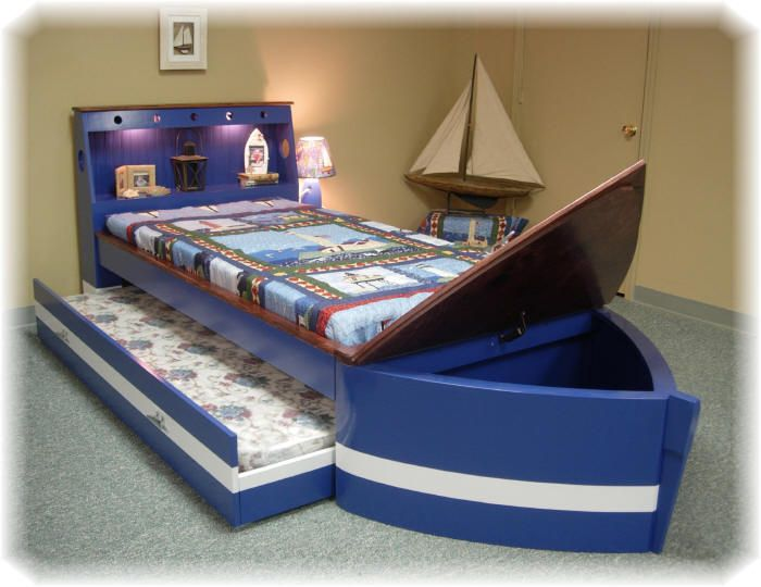 Boat Bed With Trundle And Toy Box Storage