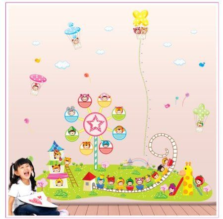 wall stickers -YYone Amusement Park Height Chart (20-69cm) with Ferris Wheel Roller Coaster Wall Sticker for Kids Room Decor