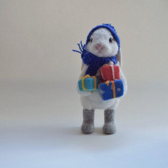 Christmas Gift Bunny Needle Felt  Funny Toy Wool by LifeandWool