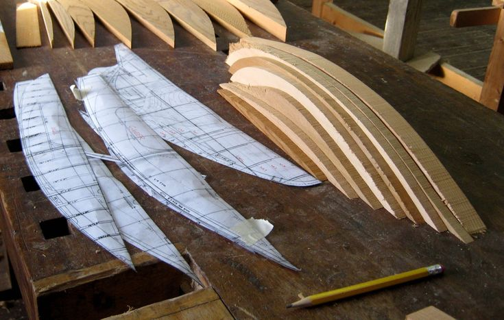 """Here are some pictures of the """"Bread & Butter"""" process used to create a half-hull model of the Howth 17. Using a bit of modern technology, paper templates of all the waterlines were created from the original lines drawing. Anke Eckardt and Rui Ferreira"""